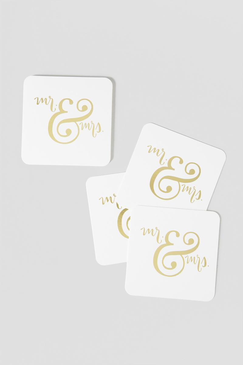 Mr. and Mrs. Gold Foil Coasters-  gift-cl