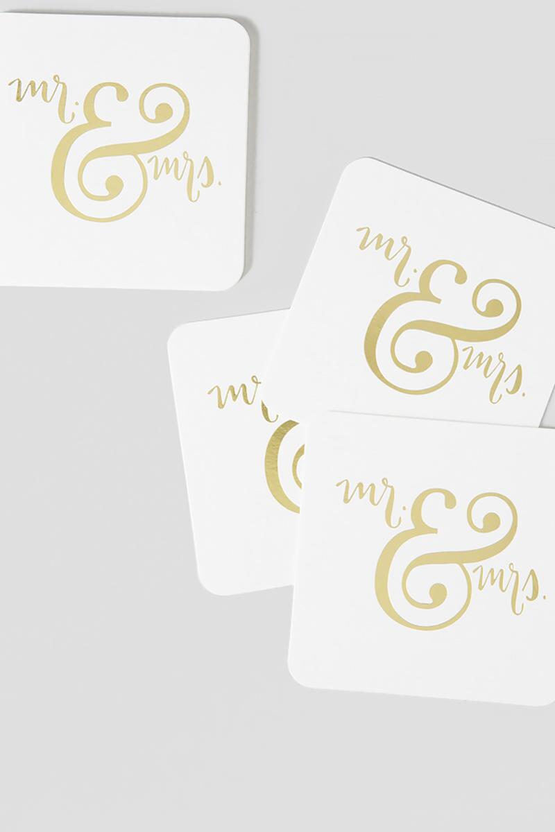 Mr. and Mrs. Gold Foil Coasters-  gift-clalternate