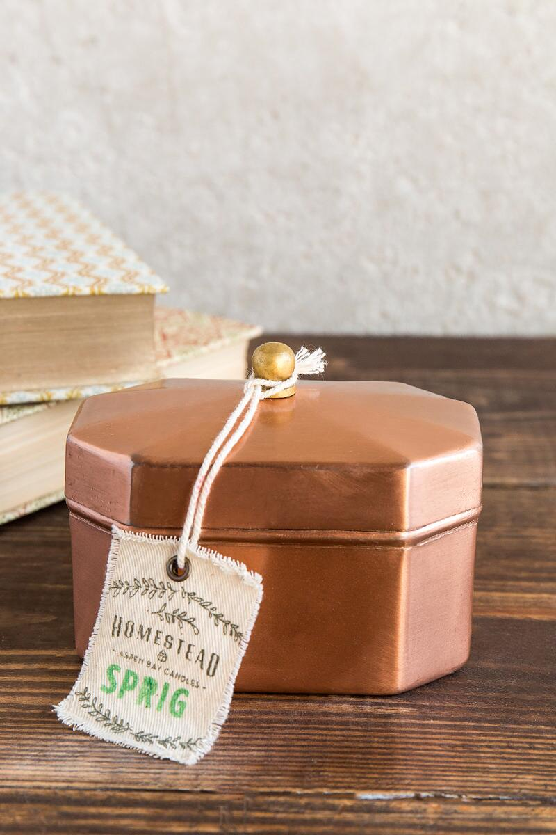 Sprig Octagon Copper Candle-  gift-clalternate