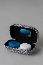 Gray Glitter Crochet Contact Lens Case