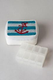 Rhinestone Anchor Pill Box