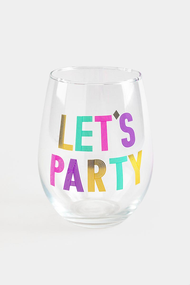 Let's Party Stemless Wine Glass-  nocolor-cl
