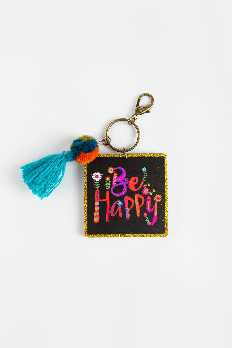 Natural Life® Be Happy Key Chain-  mult-cl