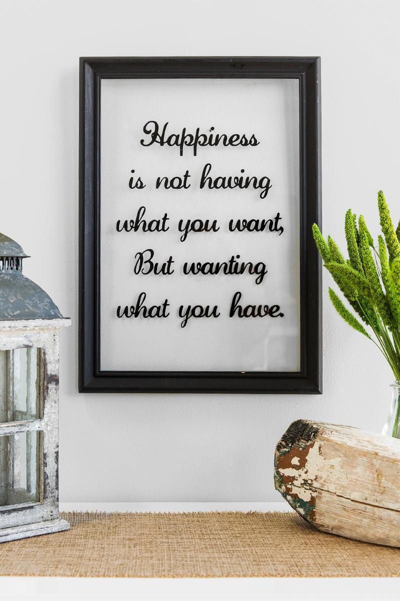 Happiness Glass Wall Decor