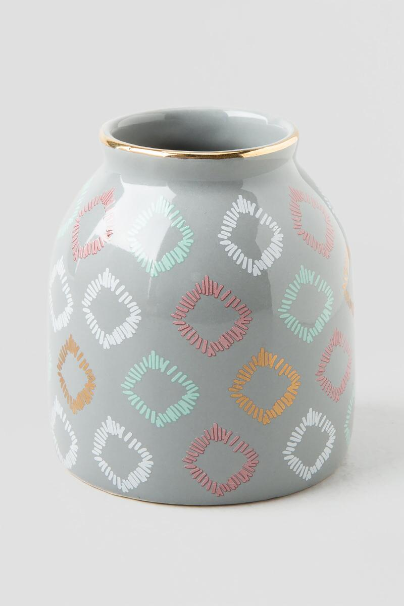 Grey Mini Vase with Tribal Squares