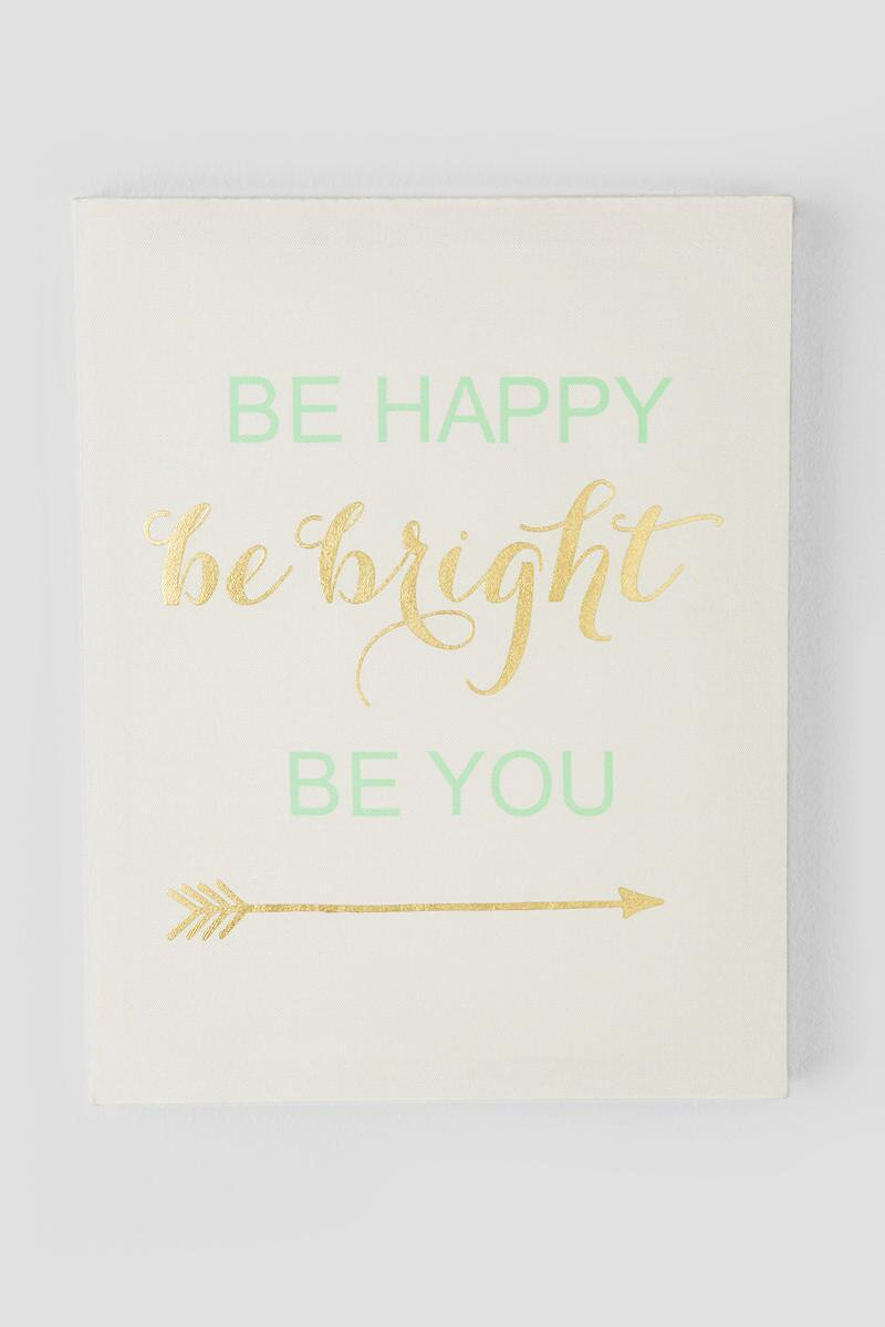 Mint and Gold Be Happy Be Bright Be You Canvas Wall Decor