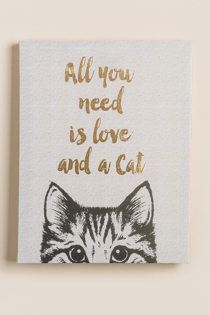 All You Need Is Love and A Cat Canvas Wall Decor