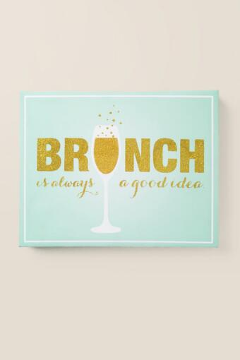 Brunch is Always a Good Idea Glitter Canvas Wall Decor