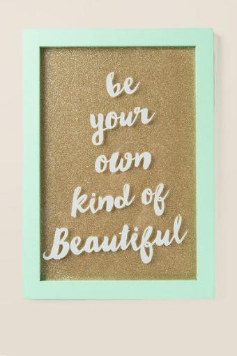 Mint Own Kind of Beautiful Glitter Glass Wall Decor