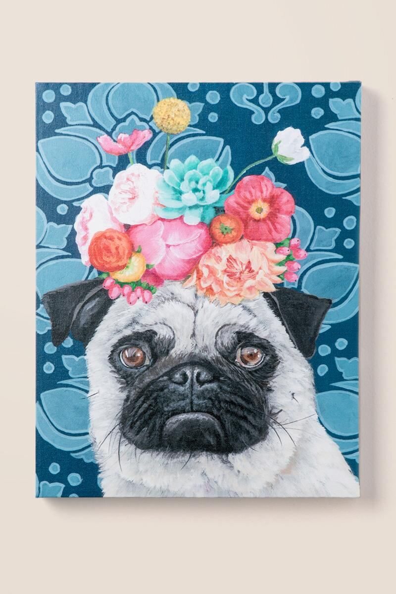 Pug Floral Crown Canvas Wall Decor-  gift-cl