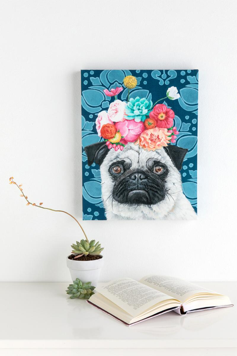 Pug Floral Crown Canvas Wall Decor-  gift-cllifestyle