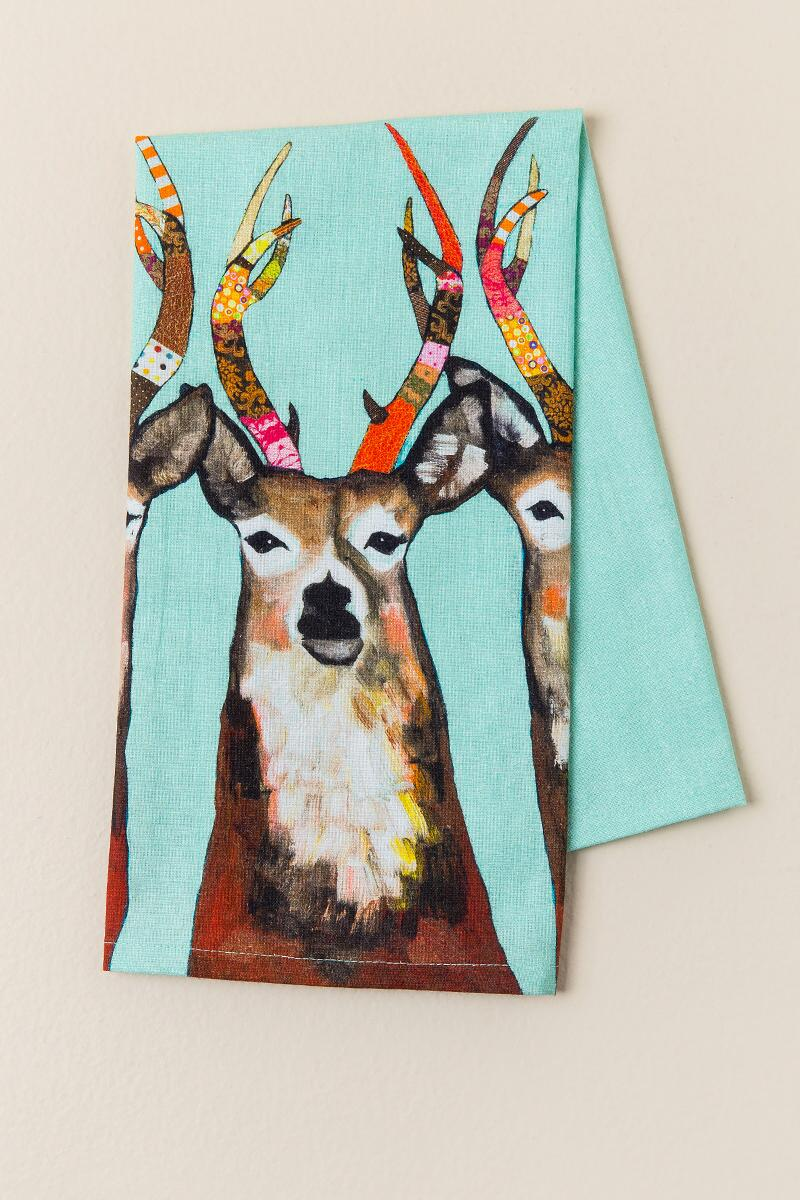 Designer Deer Tea Towel-  gift-cl