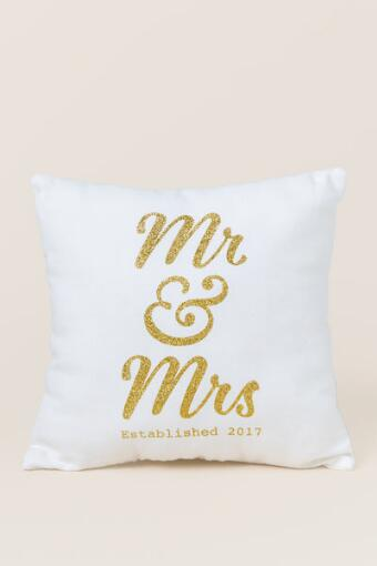 Mr. and Mrs. 2017 Gold Pillow