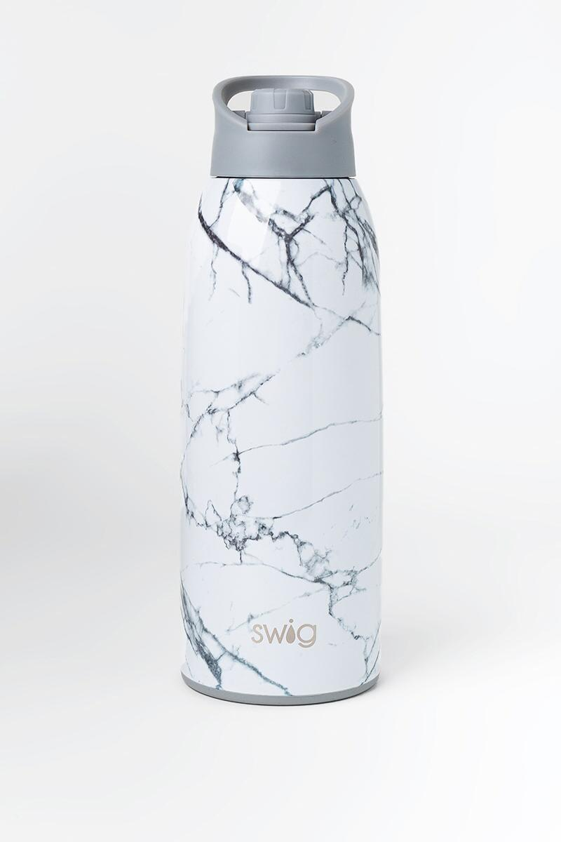 Swig Life™ Marble Water Bottle-  white-cl