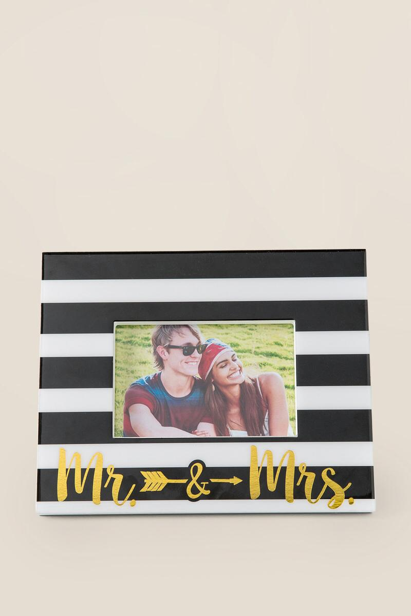 Mr. & Mrs. Arrow Striped Frame-  gift-cl