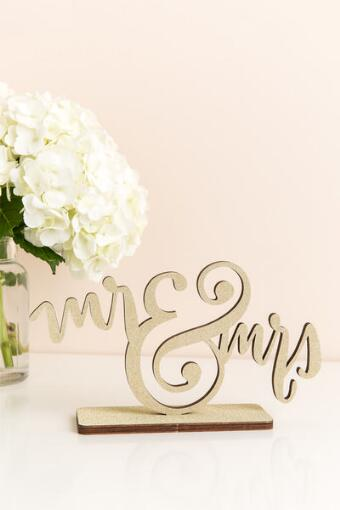 Mr. and Mrs. Glitter Stand Sign