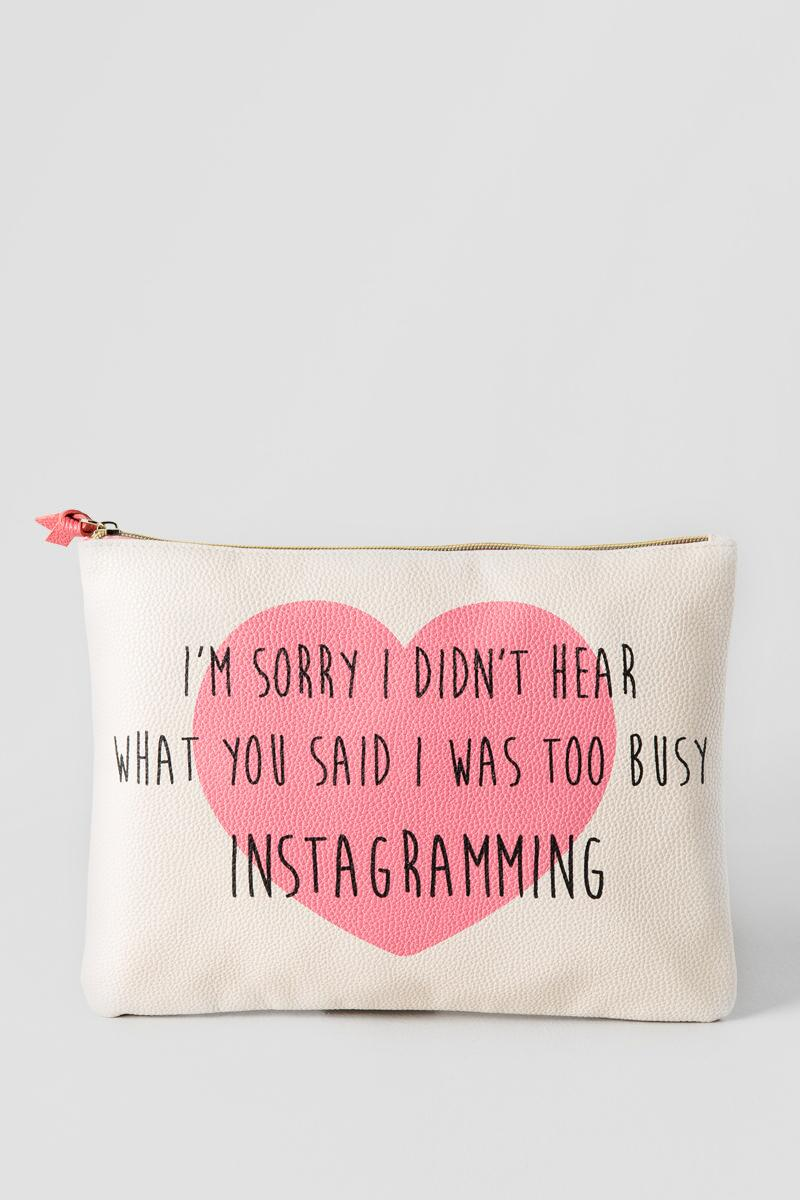 Pink Heart I'm Sorry Too Busy Instagramming Large Zipper Pouch-  gift-cl