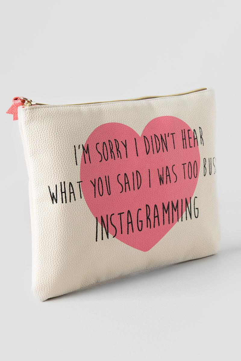 Pink Heart I'm Sorry Too Busy Instagramming Large Zipper Pouch-  gift-clalternate