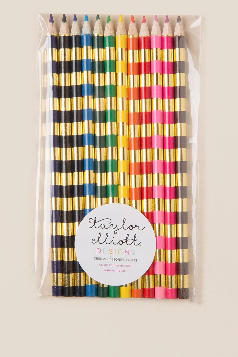 Striped Colored Pencils-  gift-cl