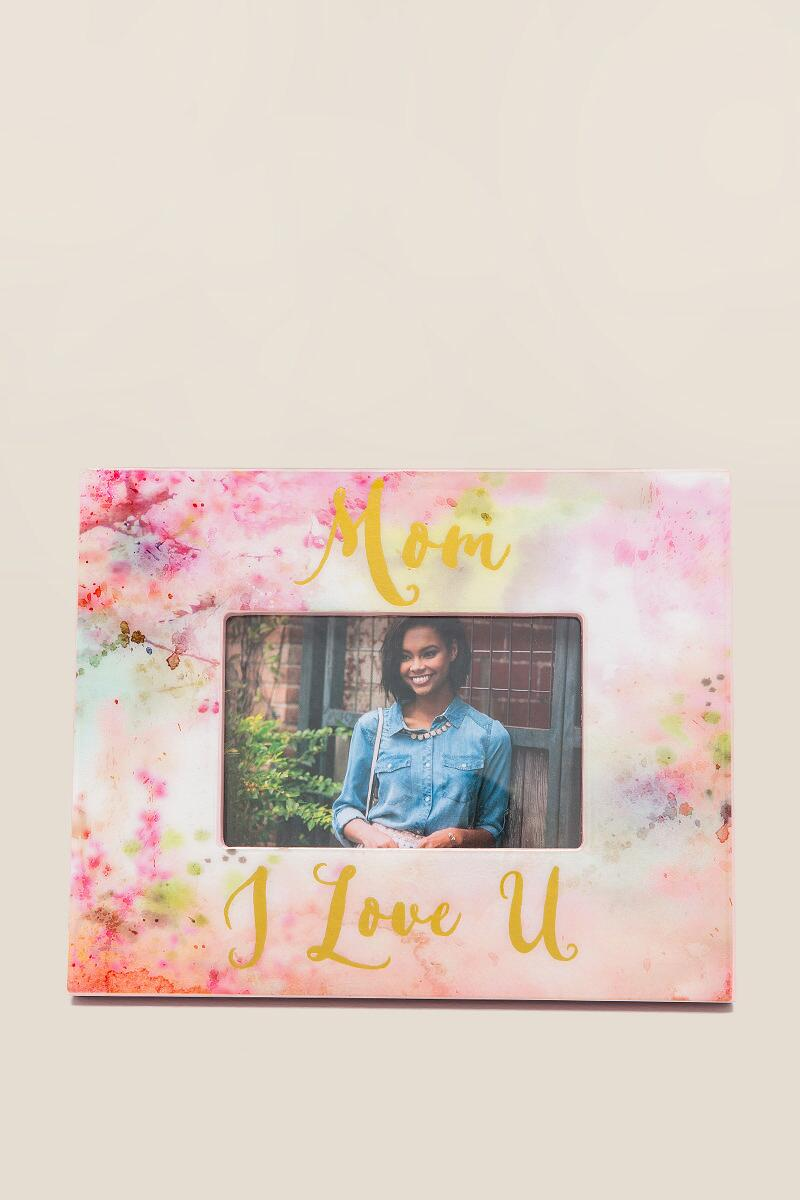 Pink Watercolor Love You Mom Frame