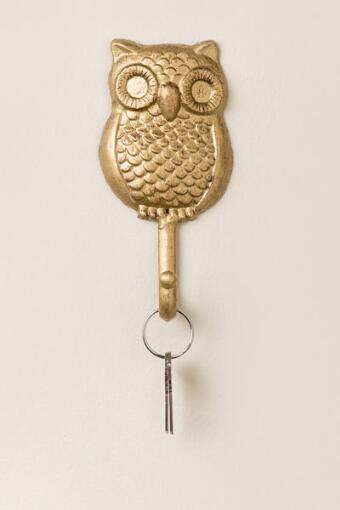 Gold Owl Wall Hook