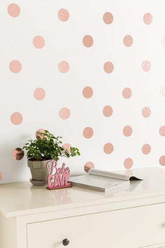 Rose Gold Confetti Dots Wall Art