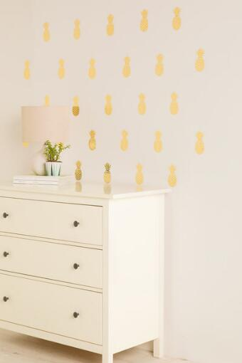 Gold Pineapple Wall Stickers