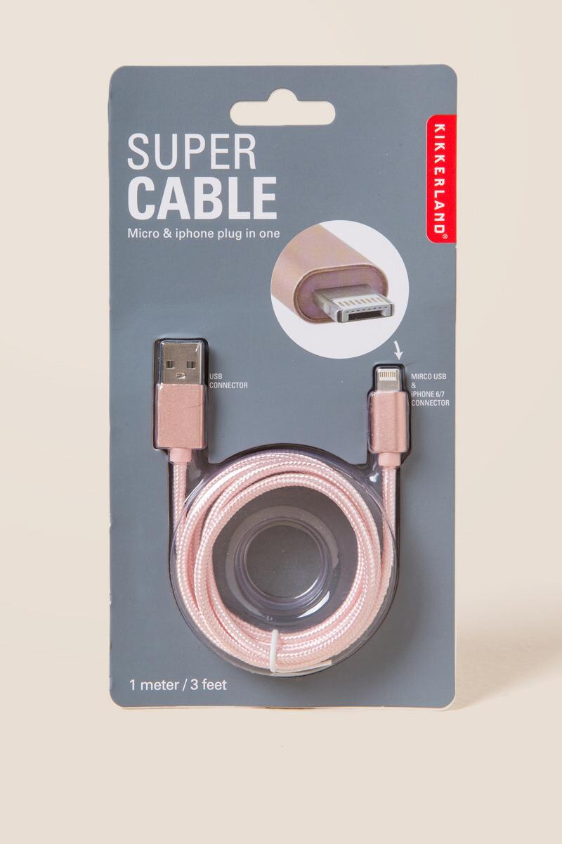 2 in 1 Rose Gold Metallic Charging Cord-  gift-cl