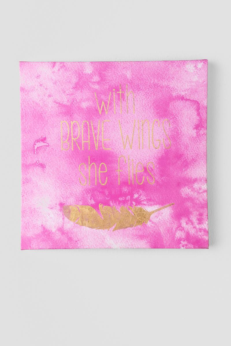 Gold and Pink Watercolor Brave Wings Wall Decor