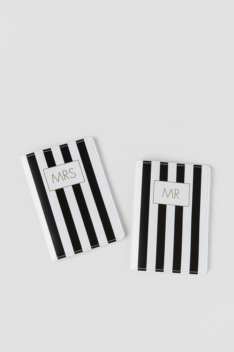 Black and Gold Mr. and Mrs. Passport Cover Set