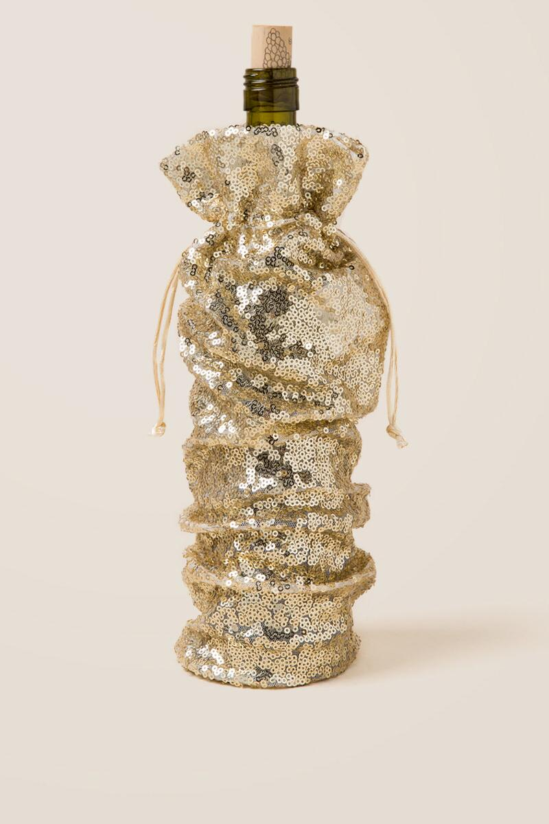 Champagne Sequin Wine Bag
