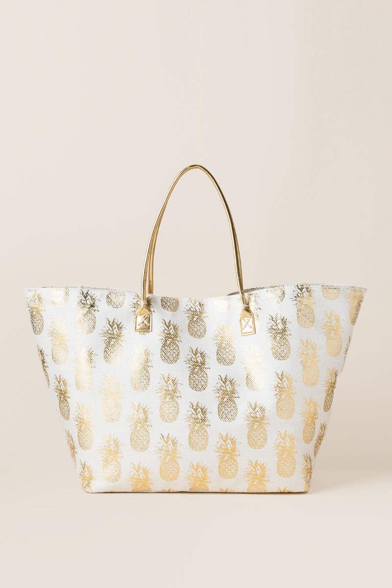 Amanda Pineapple Beach Tote-  gold-cl