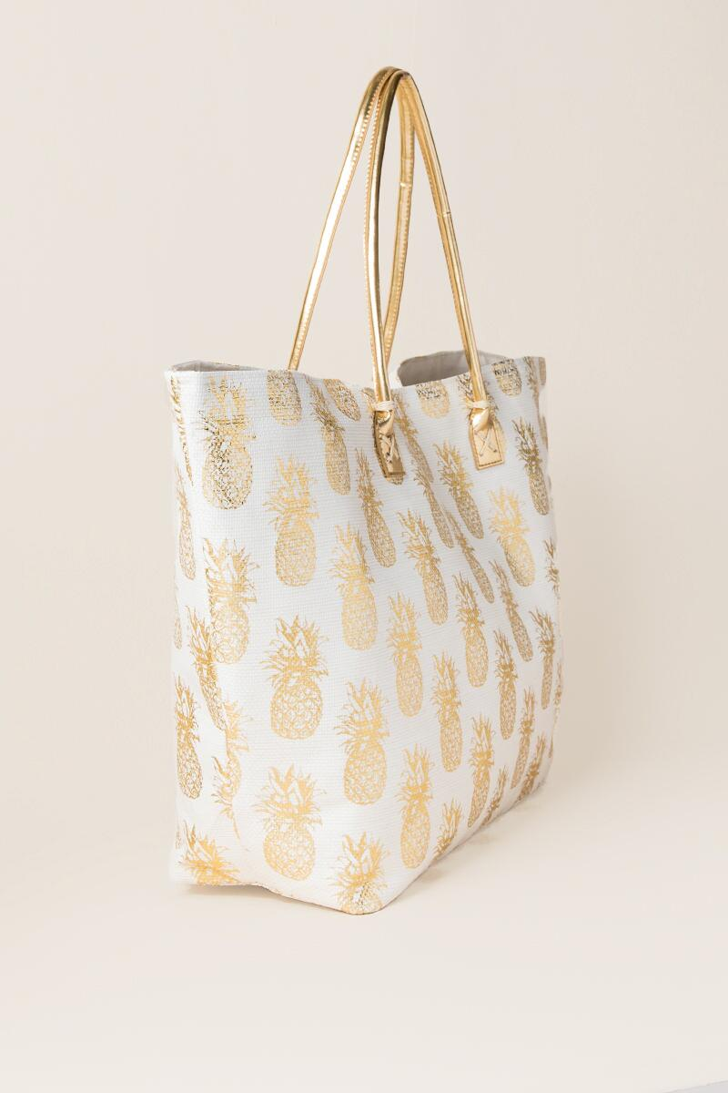Amanda Pineapple Beach Tote-  gold-clside