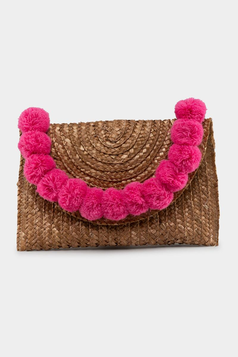Jackie Straw Pom Clutch in Pink- Pink