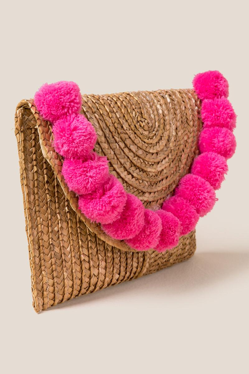 Jackie Straw Pom Clutch in Pink- Pink 2