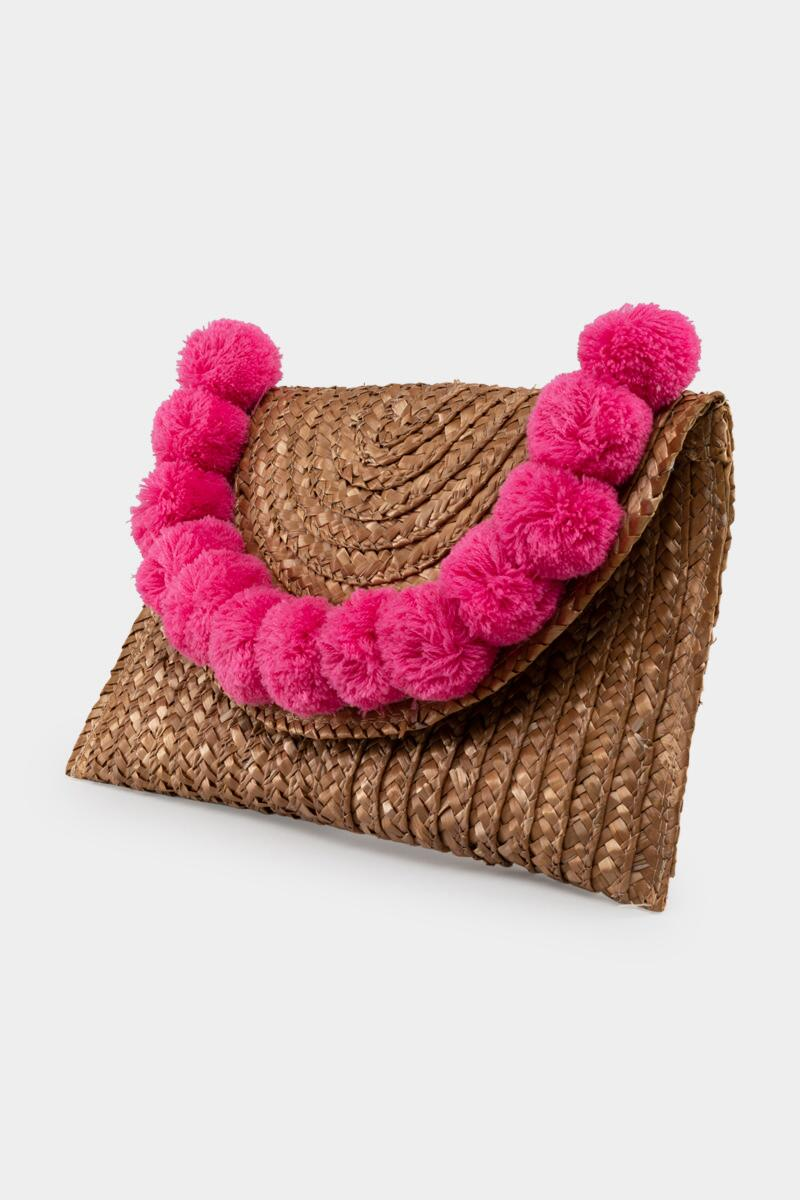 Jackie Straw Pom Clutch in Pink- Pink 3