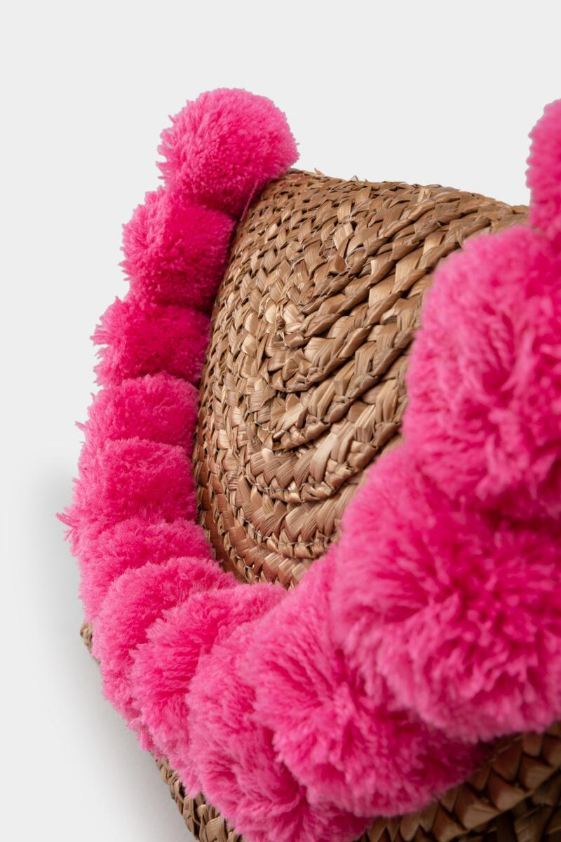 Jackie Straw Pom Clutch in Pink- Pink 4