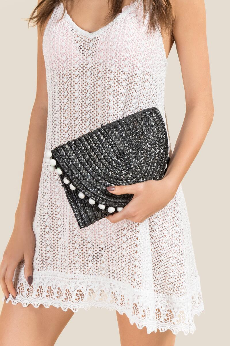Reagan Straw Pom Clutch in Black-  blk-clmodel