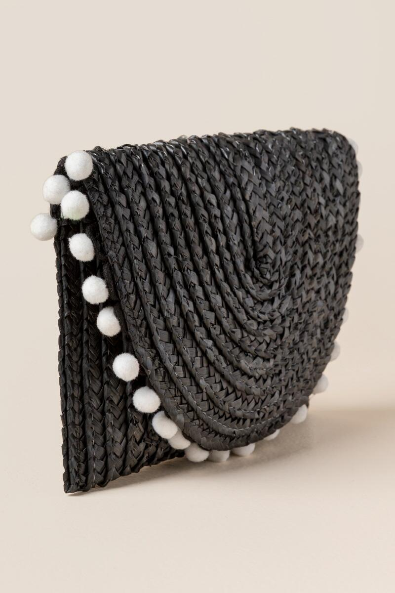 Reagan Straw Pom Clutch in Black-  blk-clside