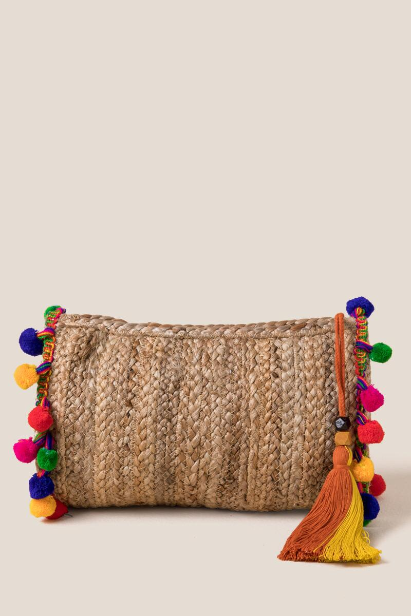 Eden Pom Clutch-  nat-cl