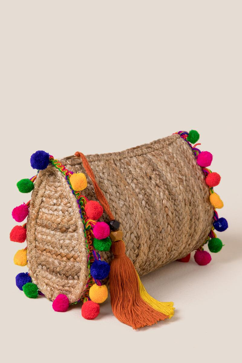 Eden Pom Clutch-  nat-cl2