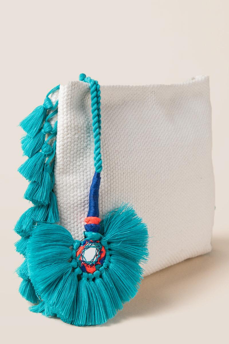 Samba Zip Pouch in Turquoise-  turq-clside