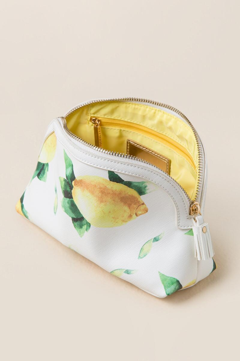Fresh Lemons Travel Cosmetic Pouch-  white-clinside