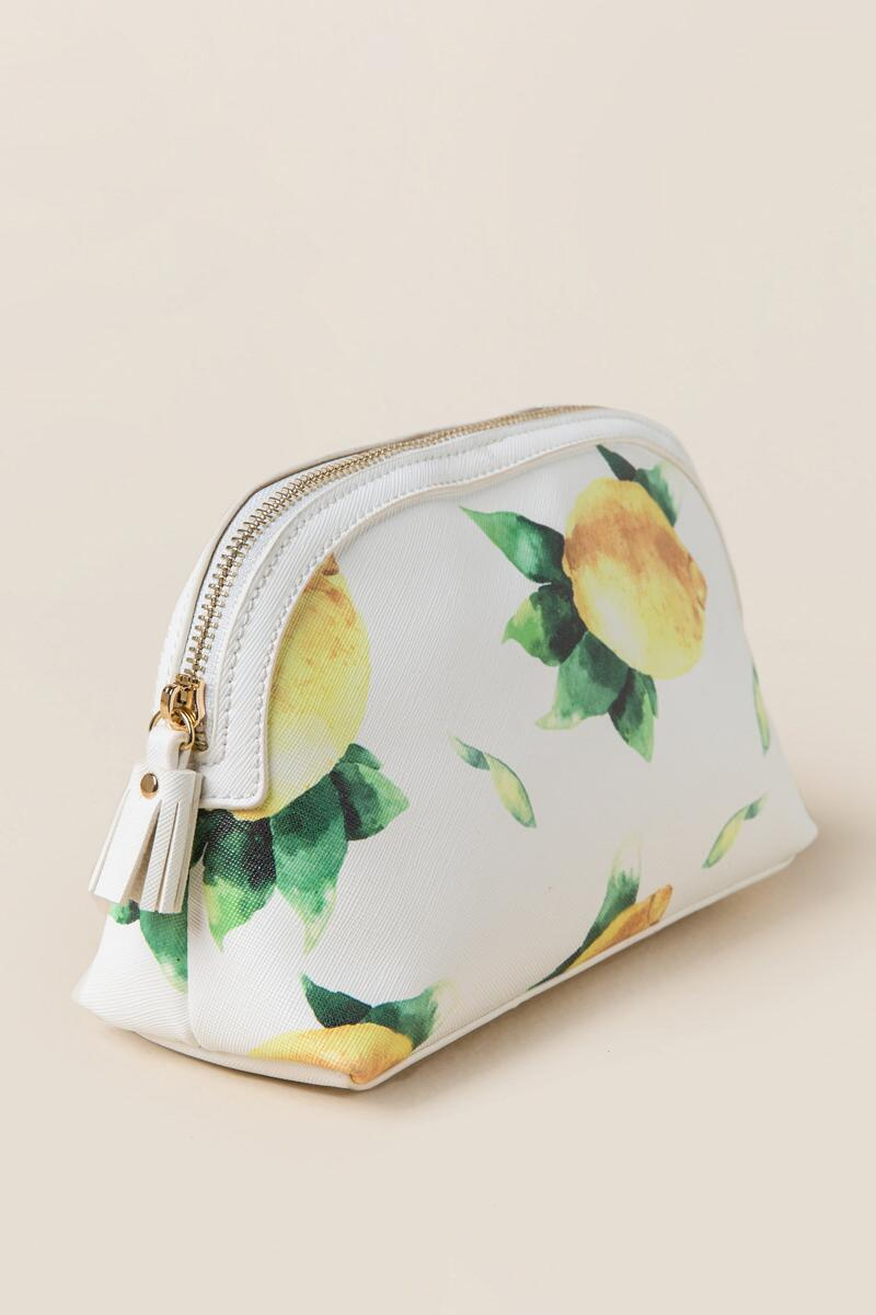Fresh Lemons Travel Cosmetic Pouch-  white-clside