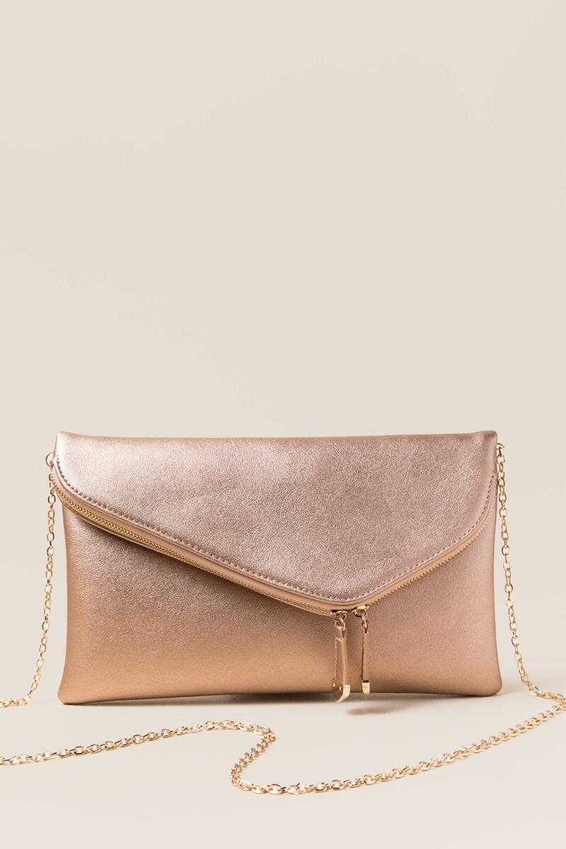 Cai Rose Gold Angled Crossbody Clutch