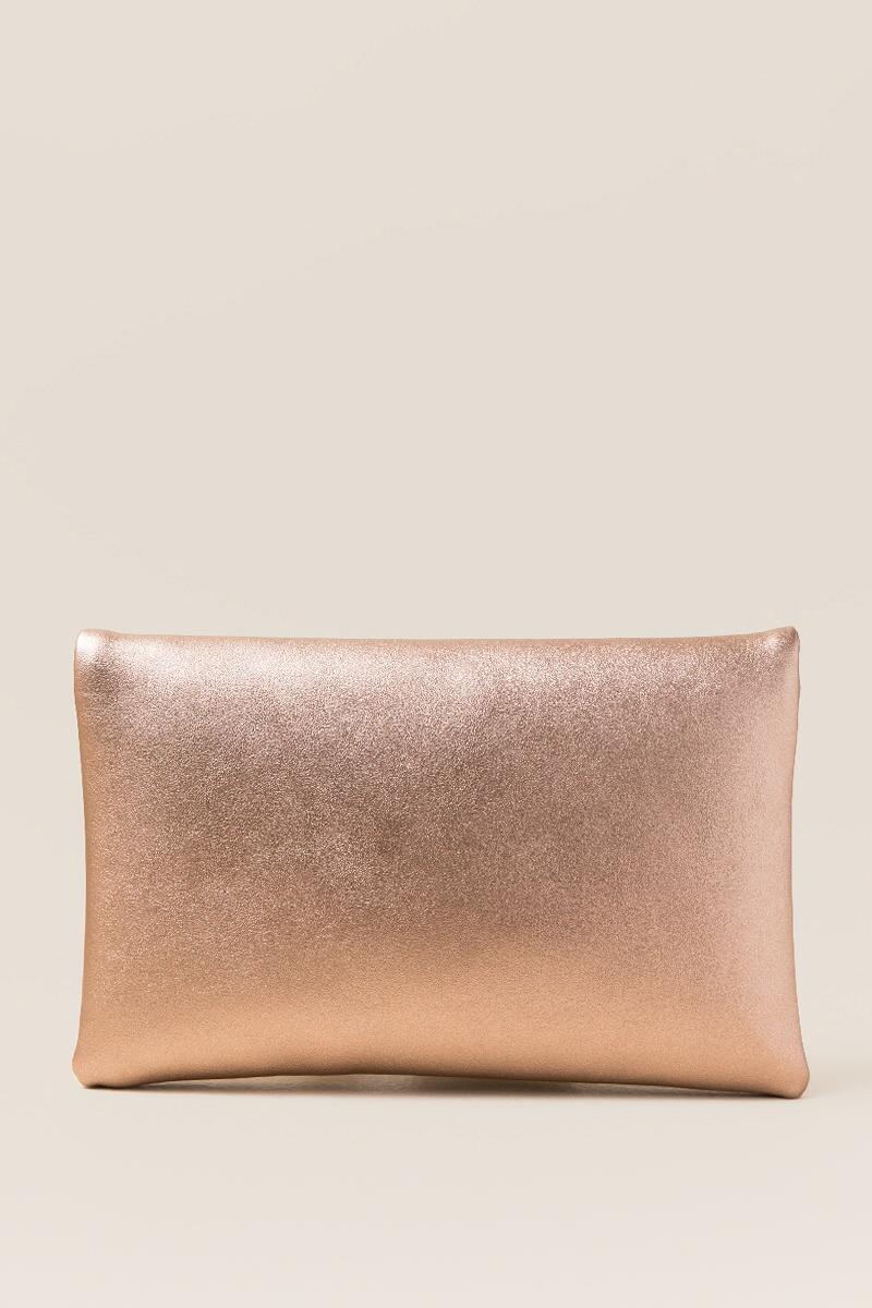 Cai Rose Gold Angled Crossbody Clutch-  rgold-clback