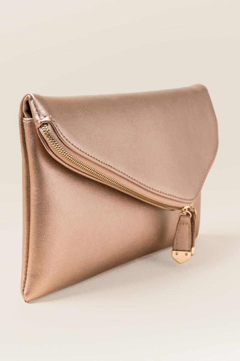 Cai Rose Gold Angled Crossbody Clutch-  rgold-clside