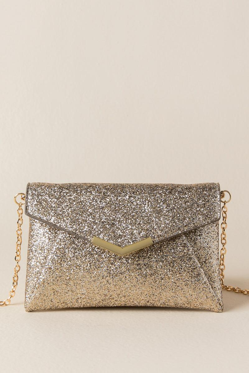 Mabel Gold Glitter Crossbody Clutch