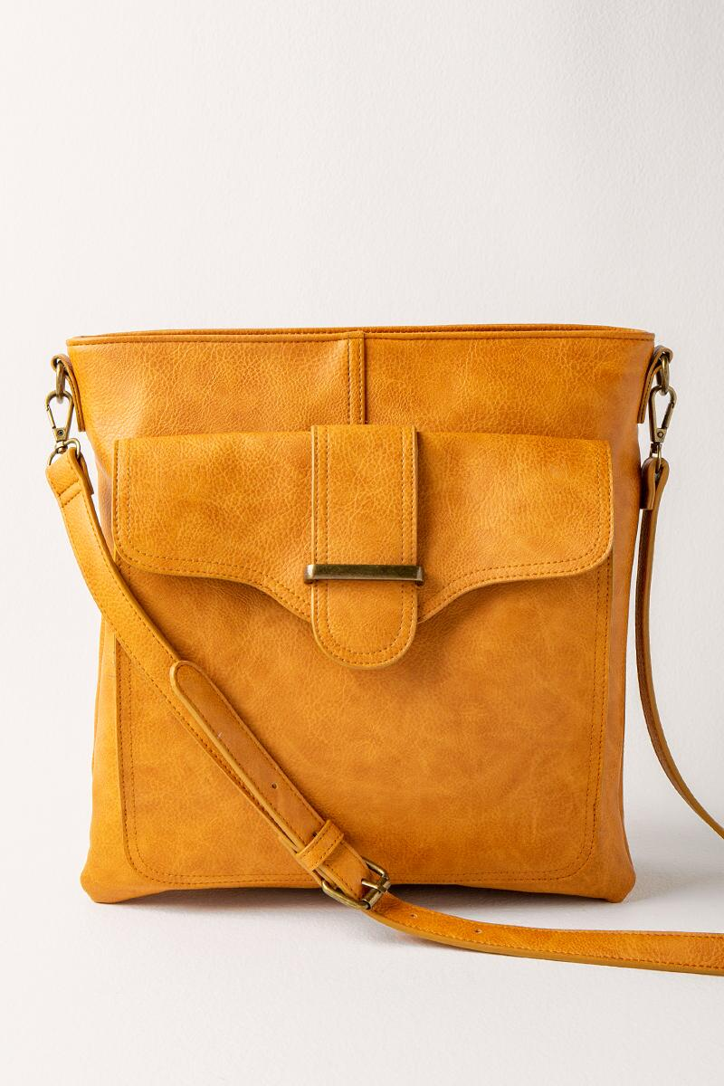 Zoe Vegan Leather Crossbody- Cognac