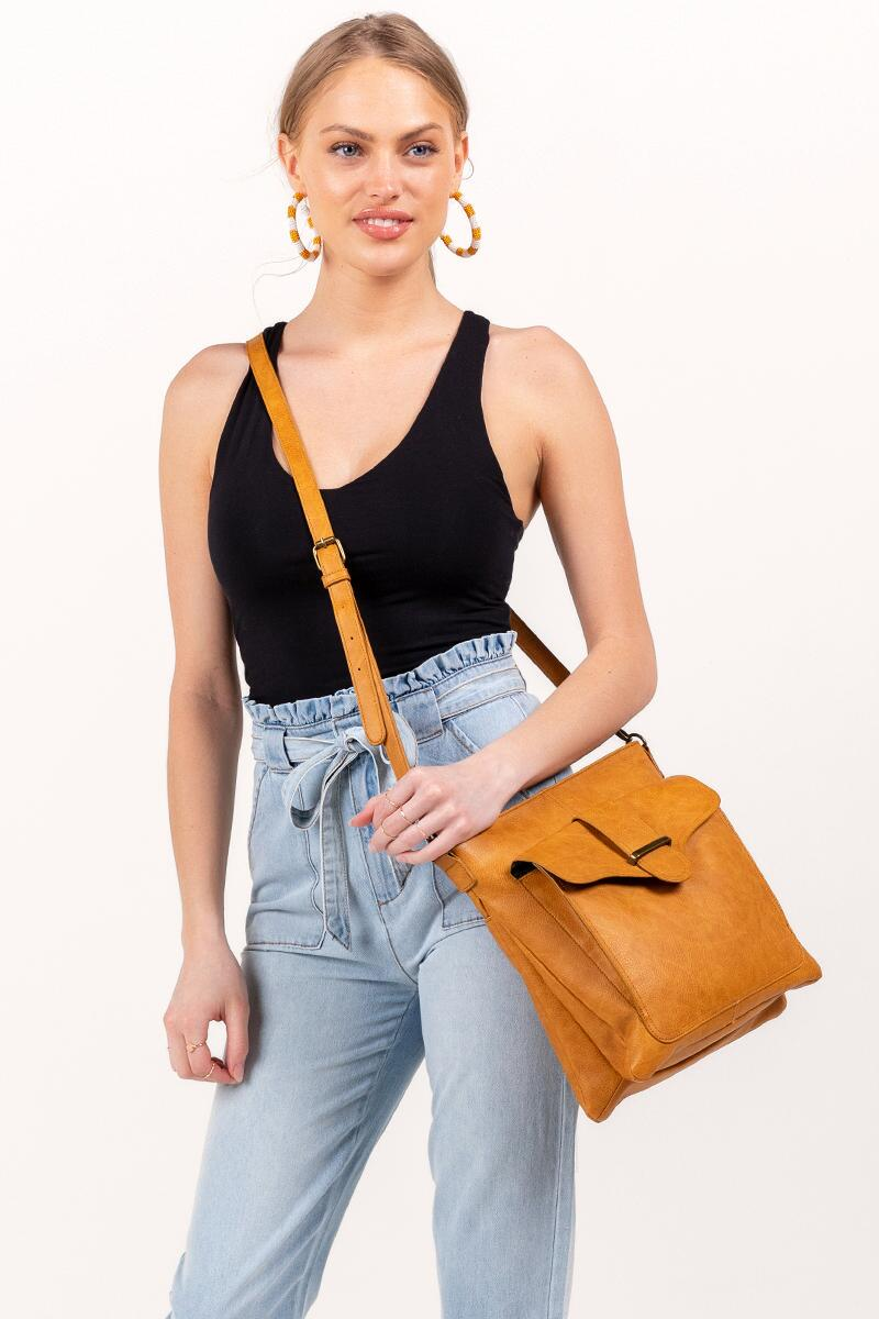 Zoe Vegan Leather Crossbody- Cognac 4